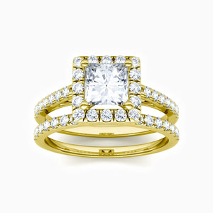 Charger l'image dans la galerie, Moissanite Bridal Sets Halo Square Solitaire Ring Micro Pave With Side Accents 1.72 Carat