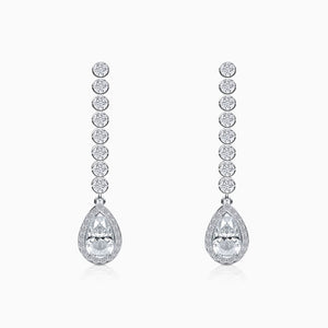 Moissanite Earrings Halo Solitaire Gemstone Bezel Set Tassel Pendant White Gold Plating Trifairy 2021 New Designer Style