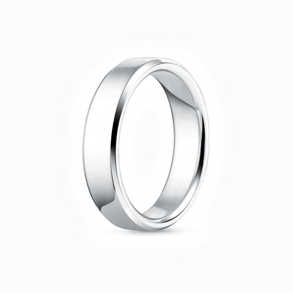 Mens Wedding Bands 925 Sterling Silver White Gold Plating Ring Width 5.5mm