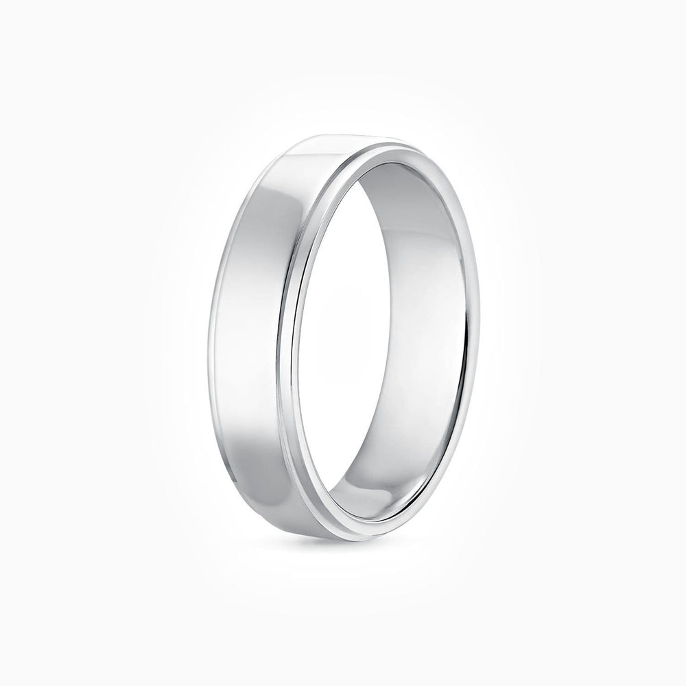 Charger l'image dans la galerie, 5.5mm Width Step Style Mens Wedding Ring 925 Sterling Silver Band White Gold Plating