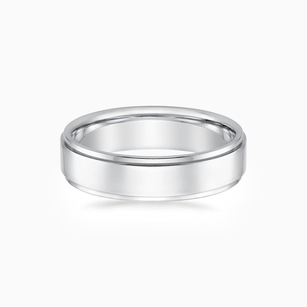 5.5mm Width Step Style Mens Wedding Ring 925 Sterling Silver Band White Gold Plating