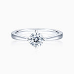 Round Moissanite Engagement Rings Four Prong Solitaire Stone Sterling Silver 1 Carat