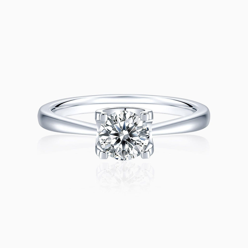 Moissanite Engagement Rings Four Prong Round Solitaire Stone 925 Sterling Silver White Gold Plating 1 Carat