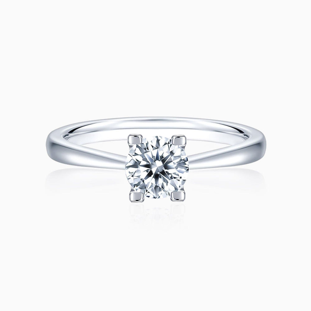 Moissanite Engagement Rings Four Prong Colorless Round Solitare 925 Sterling Silver White Gold Plating 1 Carat