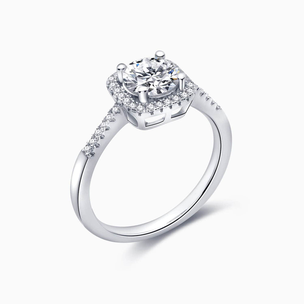 Moissanite Engagement Rings Four Prong Round Solitaire Halo Micro Pave 1 Carat