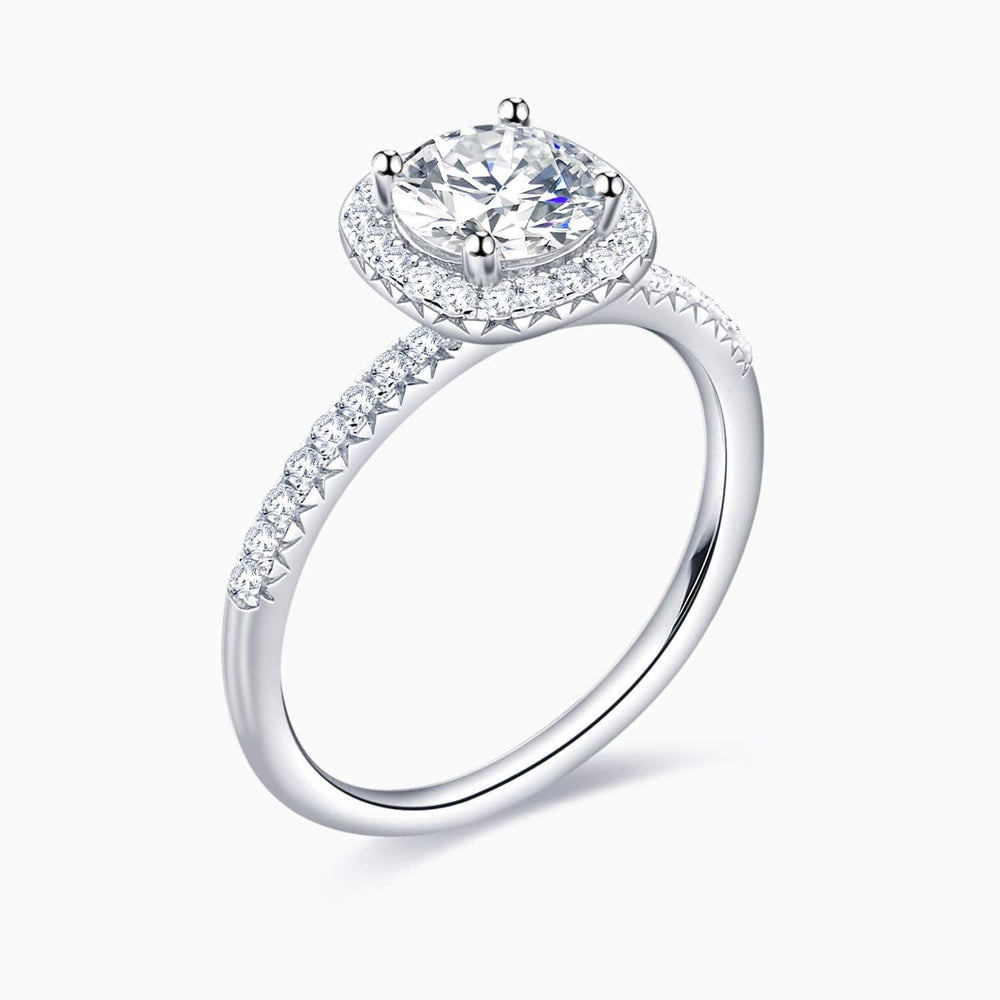 Trifairy D Grade Moissanite Engagement Rings Halo Round Solitaire Pave Side Stones 1 Carat