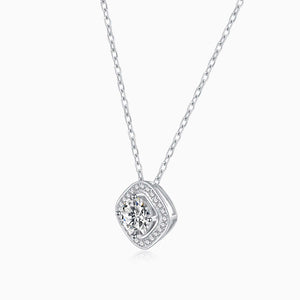 Moissanite Necklace With Square Bezel Halo Round Solitaire Pendant 1 Carat