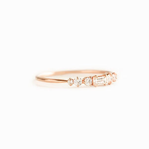 Moissanite City Lights Band Wedding Bands Solid 14k Gold Band
