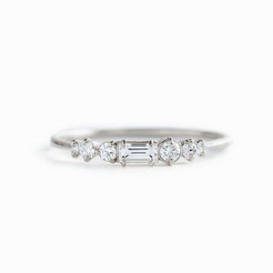 Moissanite City Lights Band Wedding Bands 14K Gold Four Prong Setting
