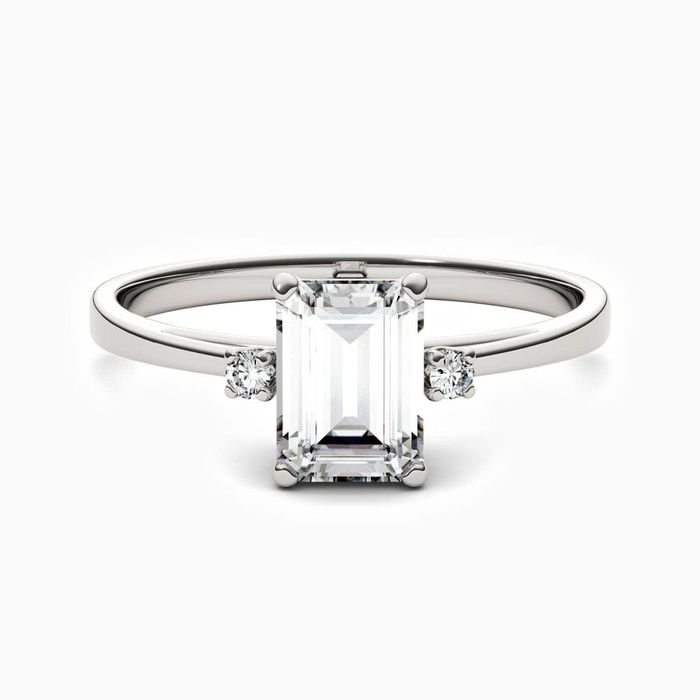 Moissanite Engagement Rings Emerald Shaped With Two Side Stones 925 Sterling Silver White Gold Plating 0.62 Carat