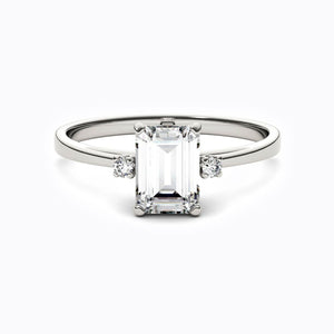 Moissanite Engagement Rings Emerald Cut Shaped
