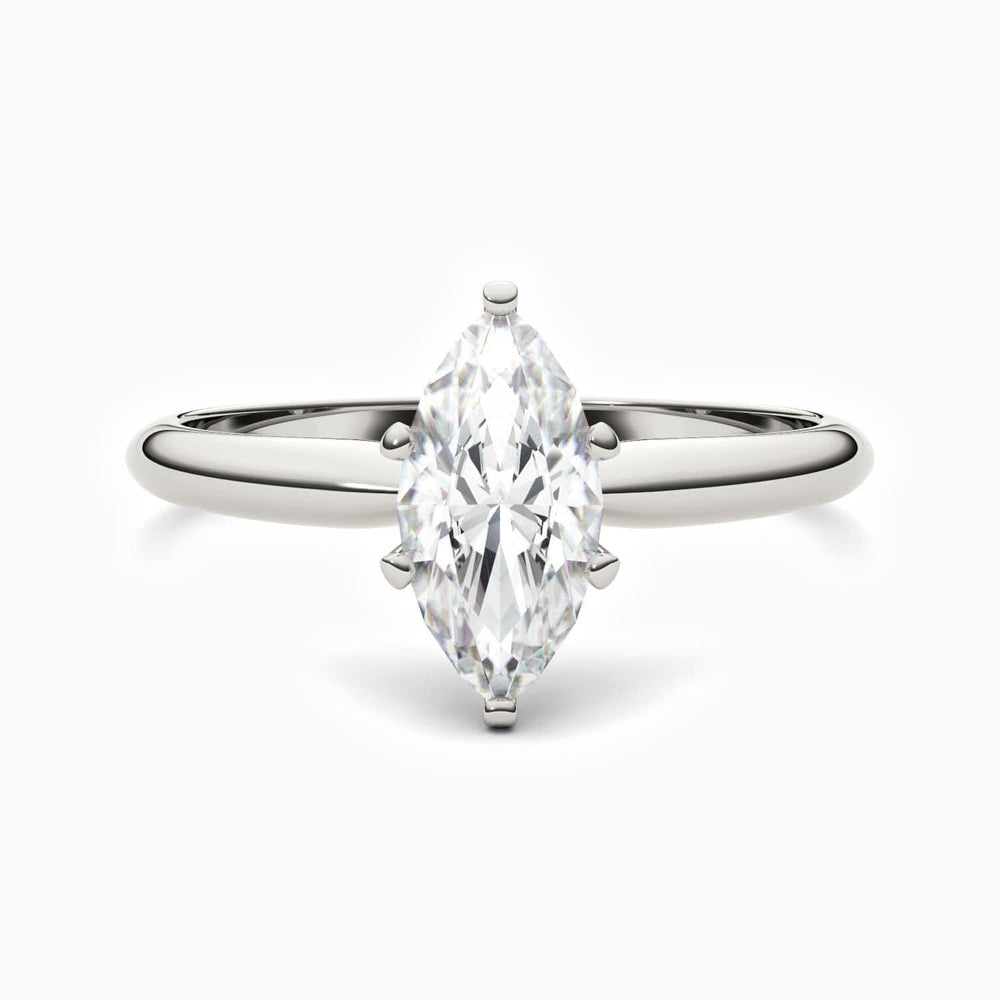 Moissanite Engagement Rings Six Prong Marquise Shaped Solitaire  1 Carat