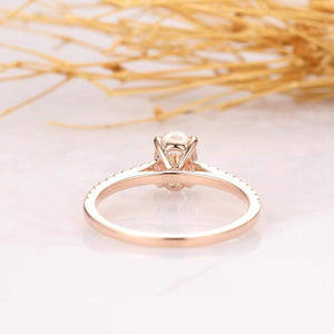 Moissanite engagement rings oval cut solitaire with micro pave accents