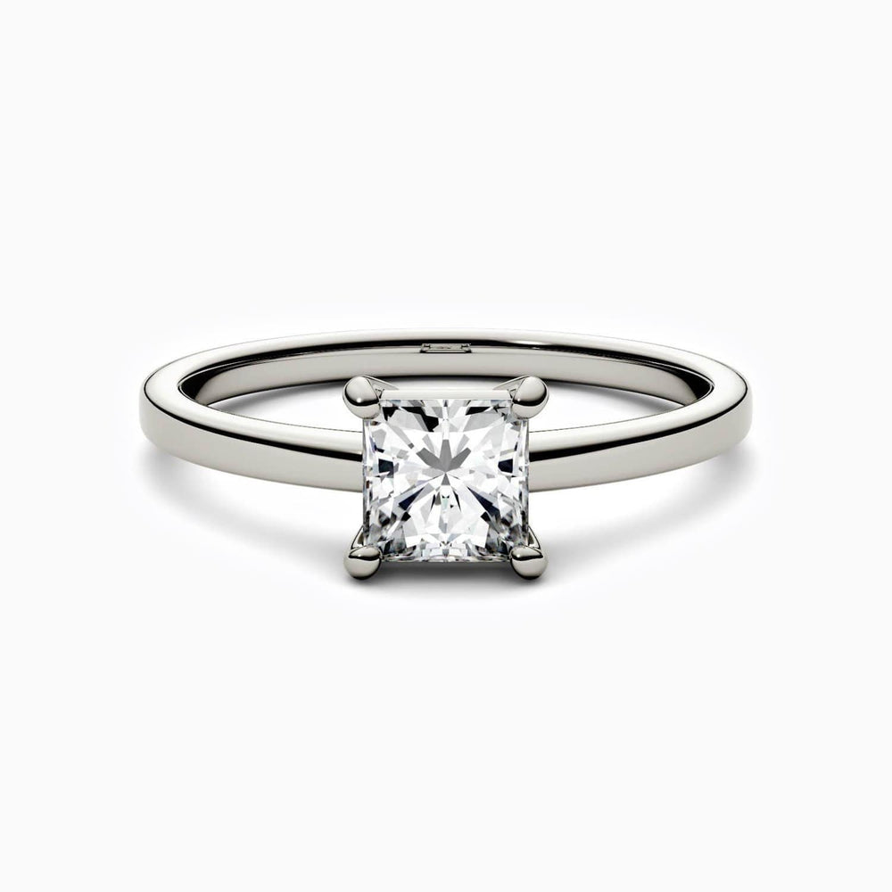 Moissanite Engagement Rings Four Prong Square Solitaire 925 Sterling Silver White Gold Plating 0.9 Carat