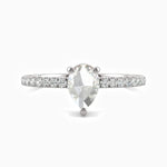 Moissanite Engagement Rings Pear Solitaire With Side Accents 0.66 Carat