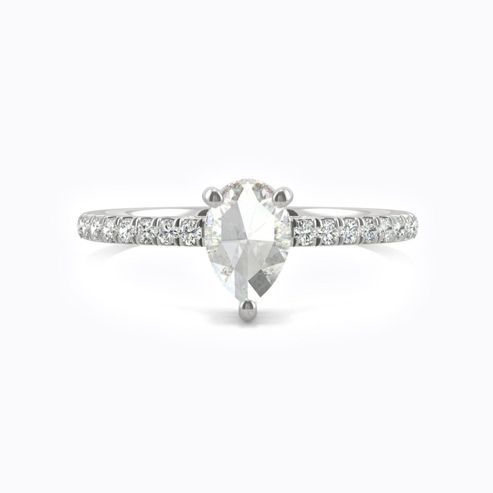 Hand crafted moissanite engagement rings white gold 0.66 carat