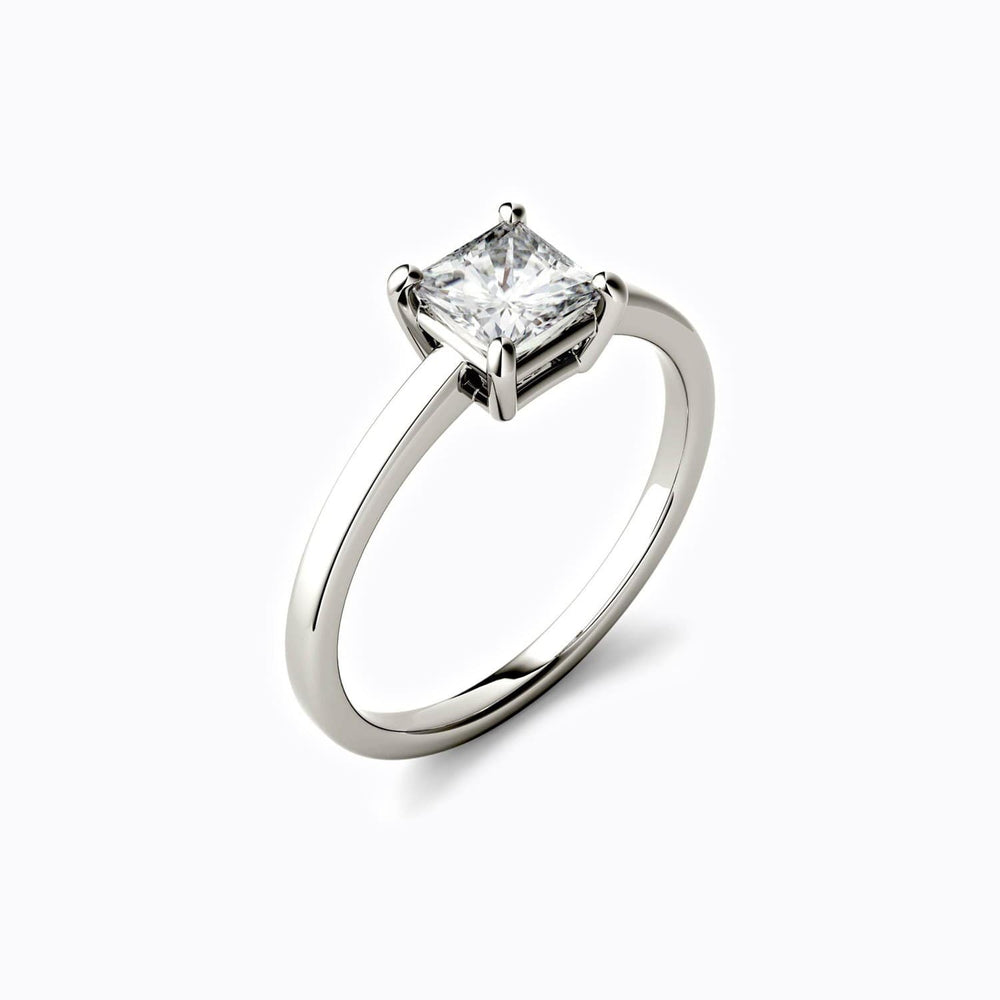 Moissanite engagement rings square solitaire 0.9 carat
