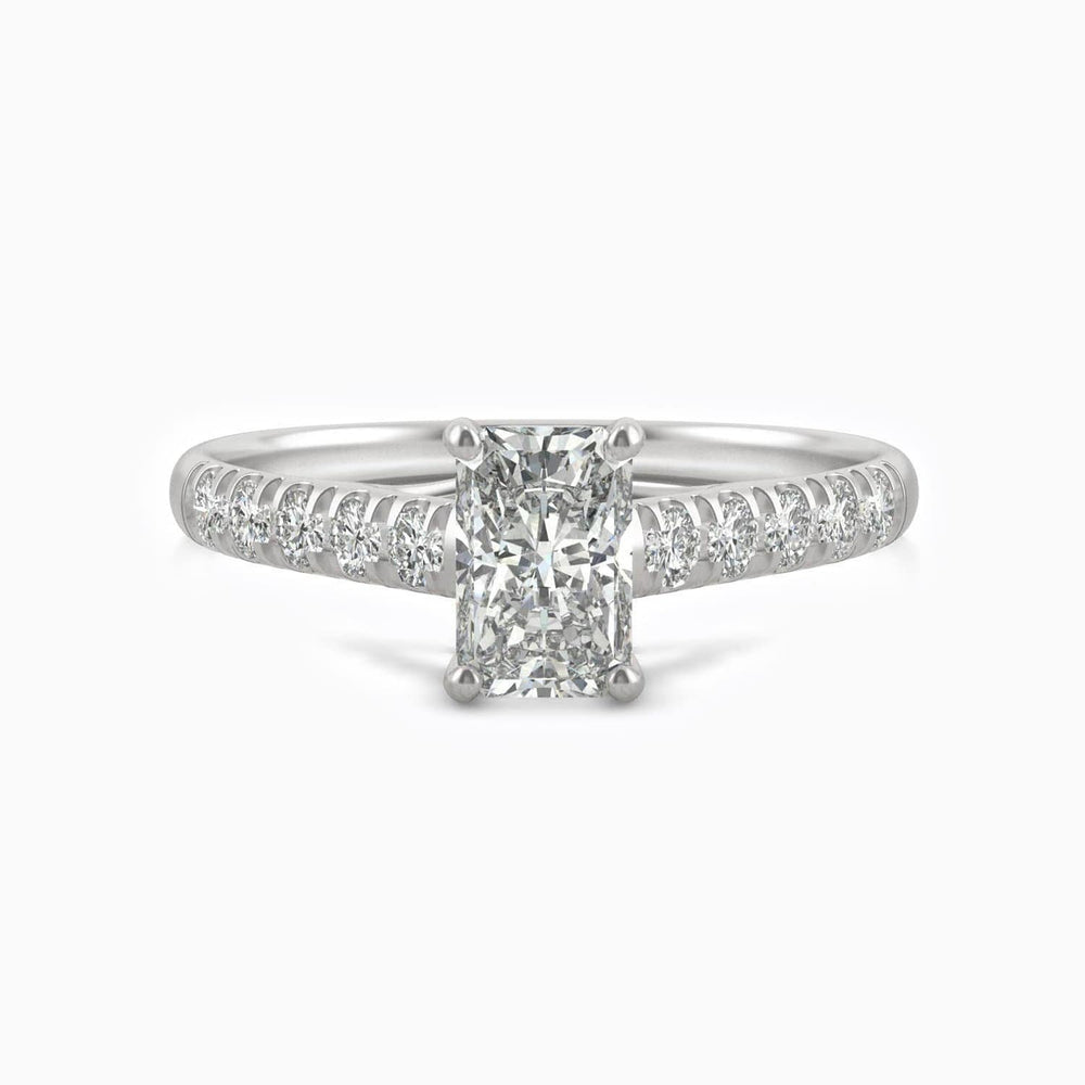 Trifairy D Grade Moissanite Engagement Rings Radiant Solitaire Micro Pave With Side Stones 1.2 Carat
