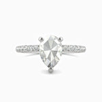 Moissanite Engagement Rings Pear Solitaire With Side Accents 1.15 Carat