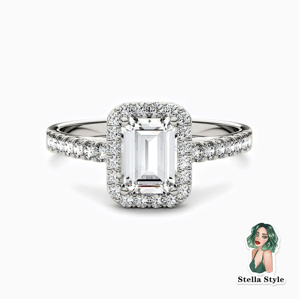 Trifairy D Grade Moissanite Halo Engagement Rings Emerald Solitaire Pave With Side Accents 0.84 Carat