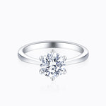 Charm And Affordable Moissanite Engagement Rings Six Prong Round Solitaire 1 Carat