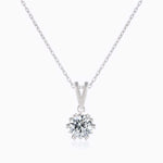 Moissanite Necklace With Round Solitaire Brilliant Cut Pendant Sterling Silver 1 Carat