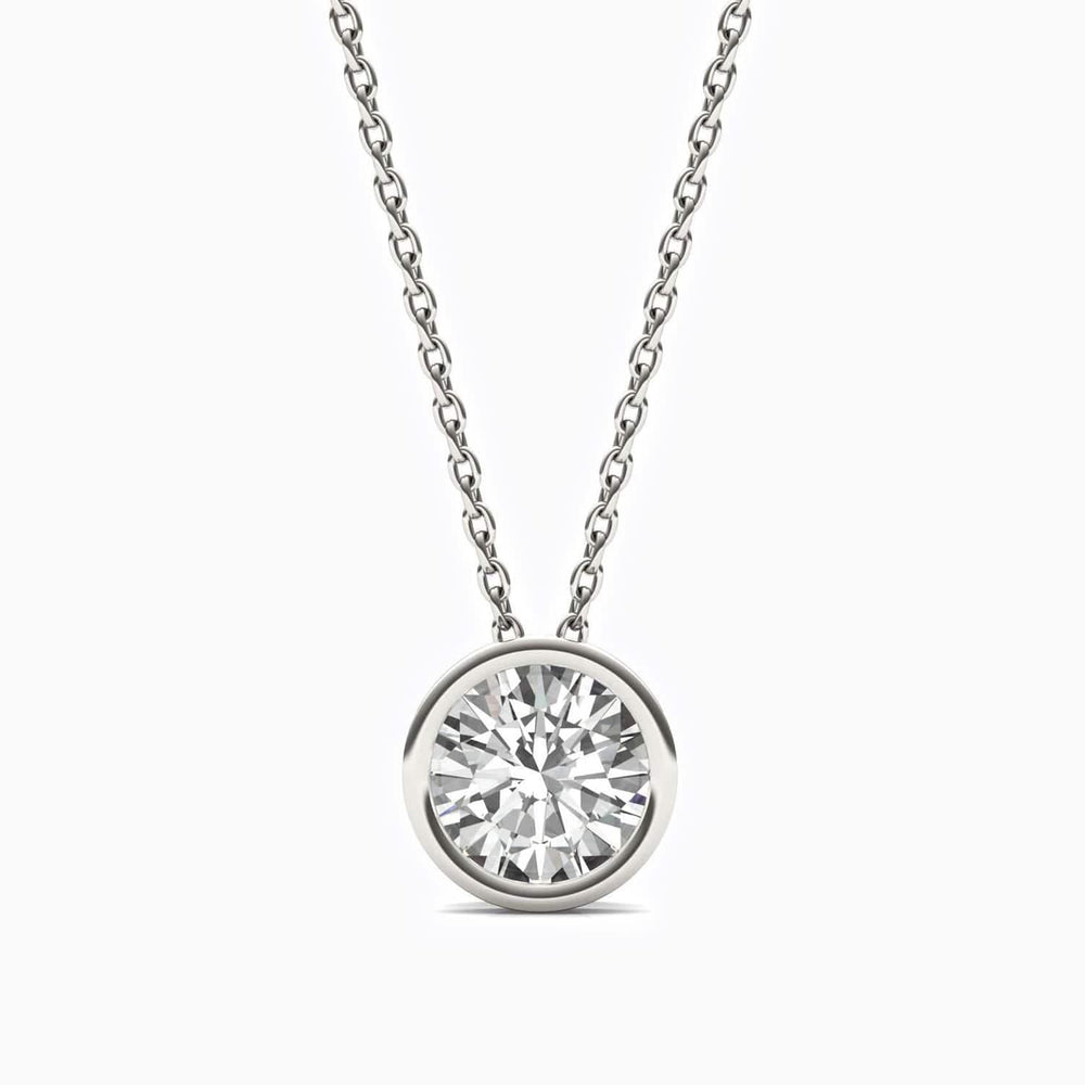 Moissanite Necklace With Bezel Set Round Solitaire Pendant Sterling Silver 1 Carat