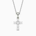 Moissanite Necklace With Cross Pendant Six Stones Sterling Silver 2.16 Carat