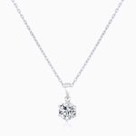 Moissanite Necklace With Six Prong Round Solitaire Pendant 1 Carat