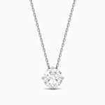 Trifairy D Grade Moissanite Necklace With Four Prong Round Solitaire Pendant 1.04 Carat