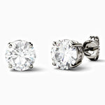Moissanite Stud Earrings With Four Prong Round Solitaire Stone 1 Carat