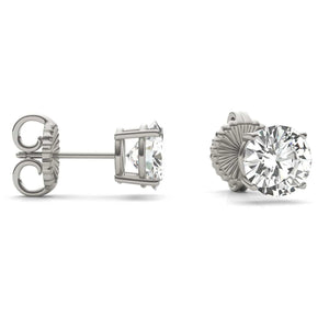 2 carat round moissanite stud earrings four prong