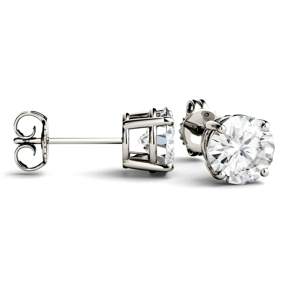 Load image into Gallery viewer, white gold moissanite stud earrings for women