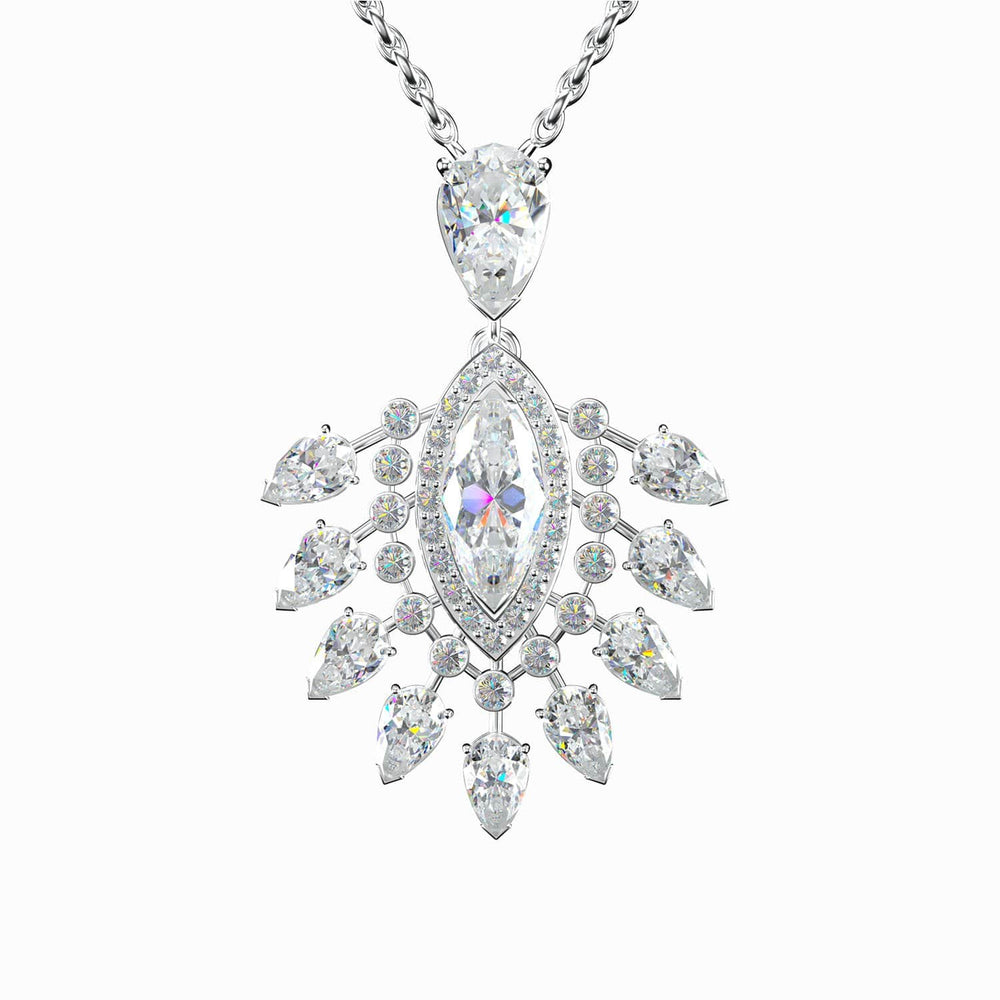 Load image into Gallery viewer, Gorgeous Queen 5A Grade Halo Pear Cubic Zirconia Pendant Necklace  Sterling Silver Trifairy 2021 New Designer Style