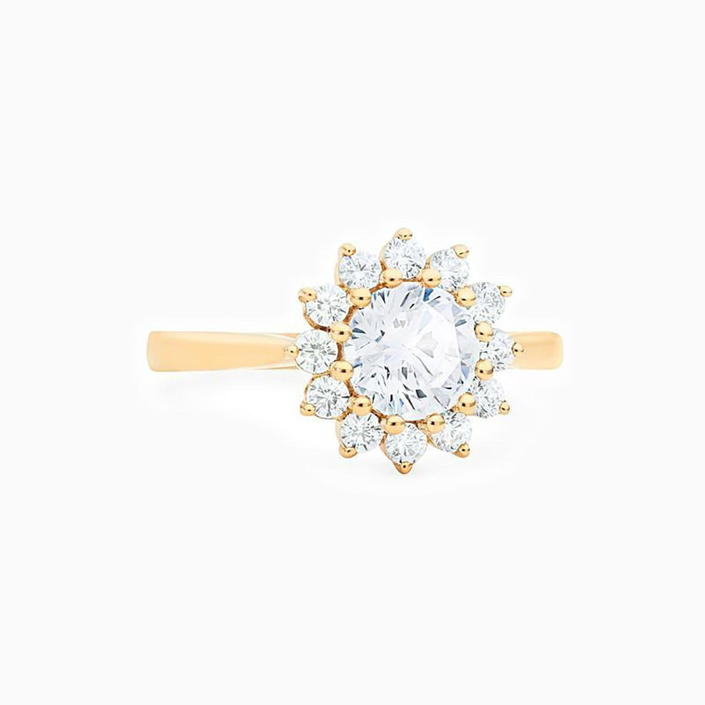 Floral Round Moissanite Engagement Ring 0.75 Carat With Side Accents Promise Band