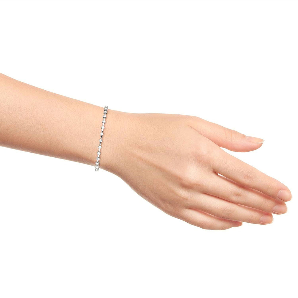Load image into Gallery viewer, Tennis Bracelet Round Moissanite 0.93 Carat White Gold