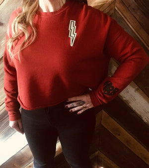 BRICK BOLT CROPPED CREW FLEECE