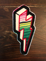 SERAPE CHAINSTITCH BOLT PATCH GREEN/PINK STRIPES ~ BLACK STITCH