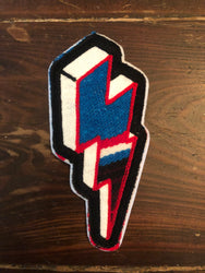 SERAPE CHAINSTITCH BOLT PATCH RED/WHITE/BLUE STRIPES ~ BLACK STITCH