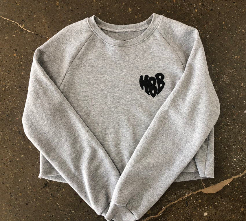 HBB HEART CROPPED CREW FLEECE