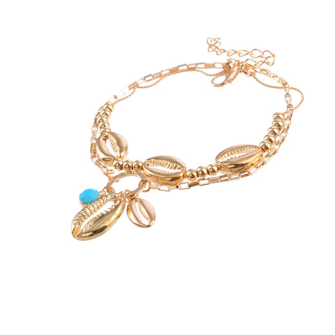 Gold shell double anklet