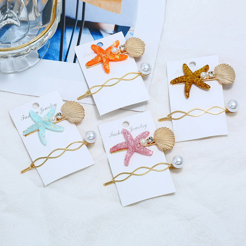 Starfish shell beach hair clip