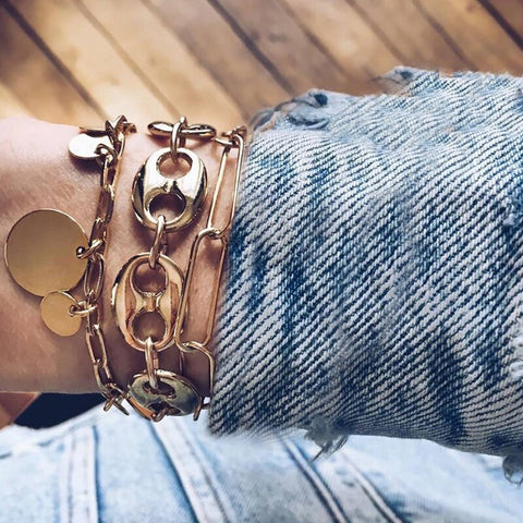 Gold Metal chain boho bracelet