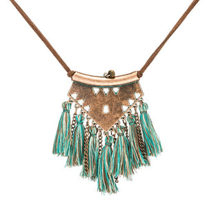Tribal geometric leather necklace