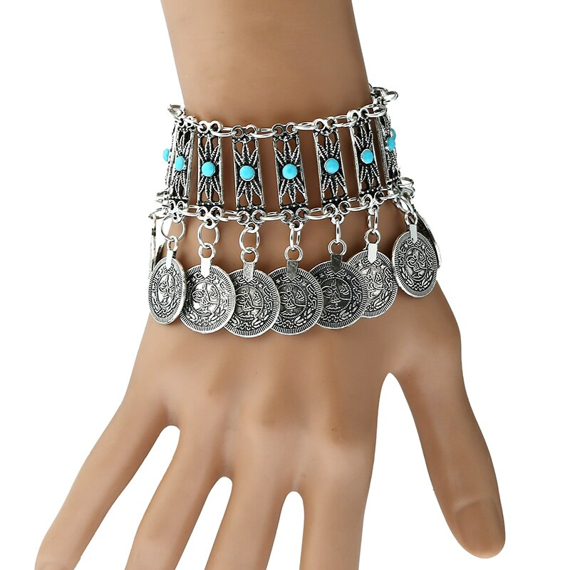 Gypsy Turkish ethnic coin bracelet