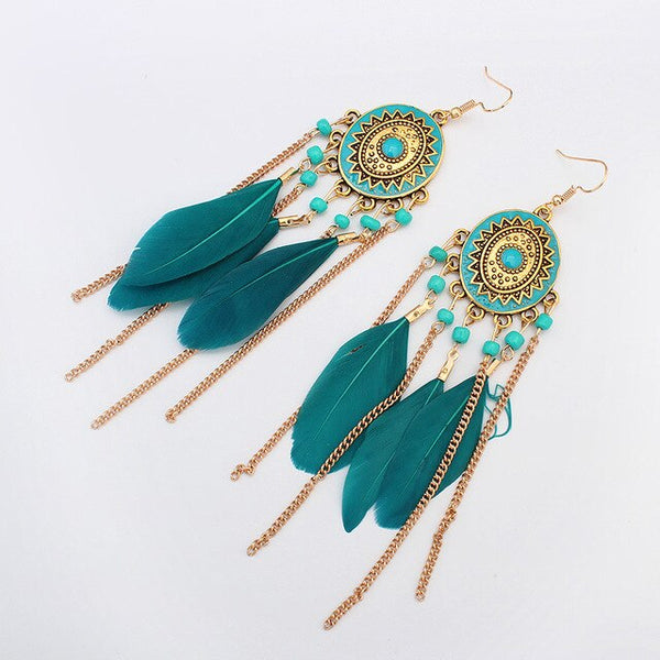 Long metal chain Boho feather earrings