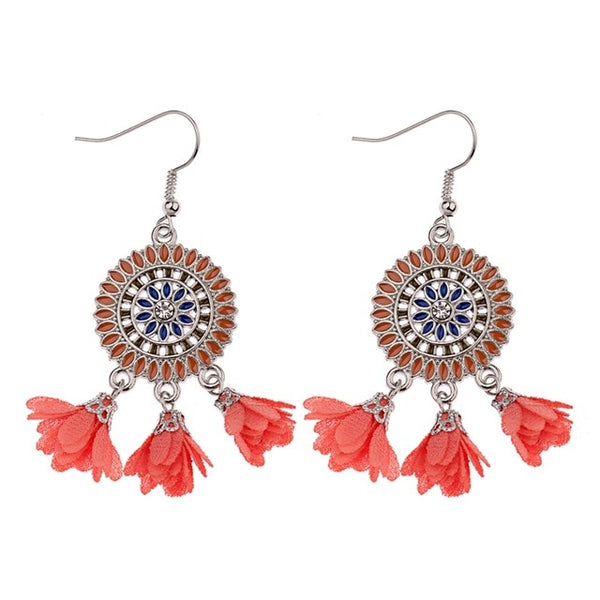 Pendant Fabric flowers dangling earrings