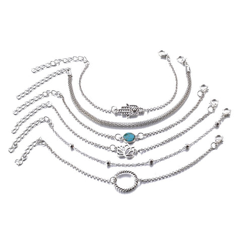 Boho 6pc silver chain bracelet set