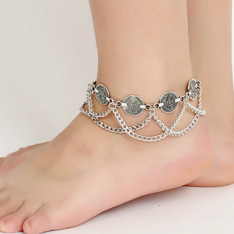 Rustic coin metal anklet