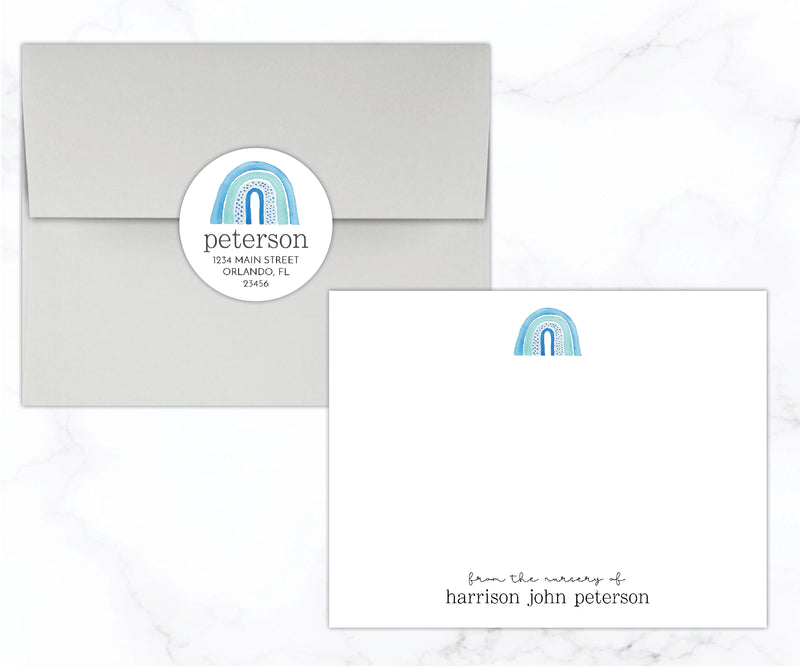 Blue Rainbow Baby Stationery